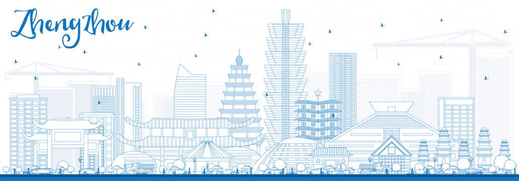 Outline Zhengzhou Skyline with Blue Buildings.