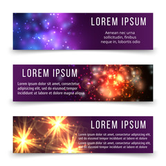 Abstract banners template with space objects