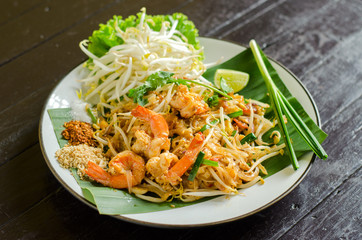 """Thai Fried Noodles """"Pad Thai"""" with shrimp and vegetables"""