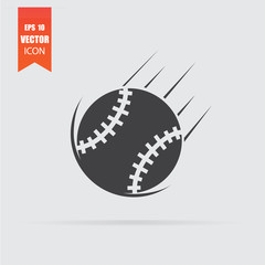 Baseball icon in flat style isolated on grey background.