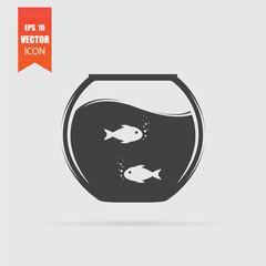 Aquarium icon in flat style isolated on grey background.