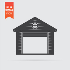 Garage icon in flat style isolated on grey background.