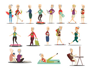Elderly People Concept Icons Set