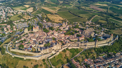 Aerial top view of Carcassonne medieval city and fortress castle from above, Sourthern France