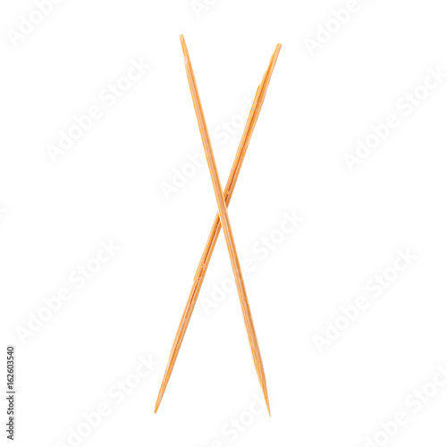 Toothpicks isolated on white  and Old roman antique alphabet