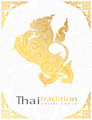 greeting card lion Character,thai tradition style.vector