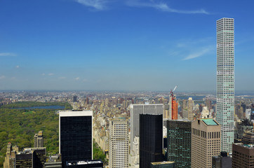 Fototapete - New York City skyline, central park and urban skyscrapers of Manhattan aerial view