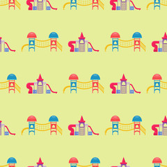 Children playground fun childhood seamless pattern play park activity flat vector illustration