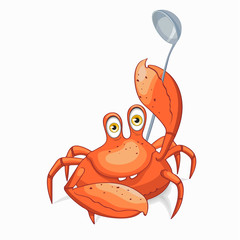 Fun crab chef. Vector clipart illustration.