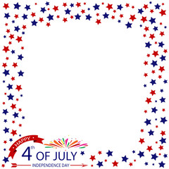 Fourth of July, USA Independence day with fireworks and flag vector design