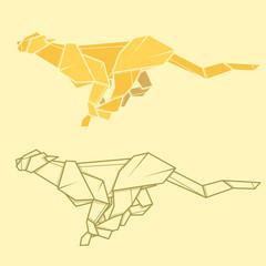 Set illustration paper origami of cheetah.