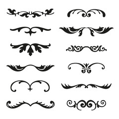Set of flourishes calligraphic elegant ornament dividers vector illustration