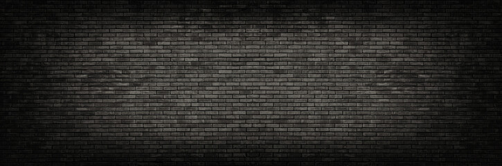 Foto auf Leinwand Ziegelmauer Black brick wall panoramic background.