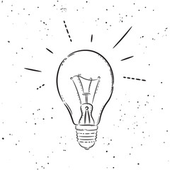 Vector hand drawn illustration. The idea for a t-shirt, poster, icon, web site. Bulb idea.