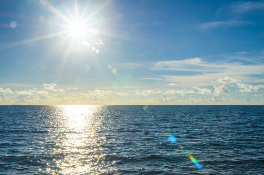 Seascape with the sun shine above
