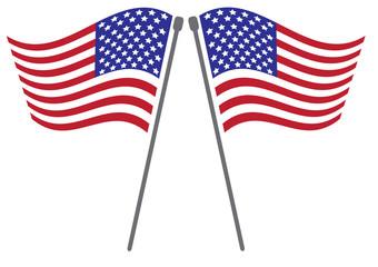 National flag of USA with vector illustration design - Twin wave USA flag