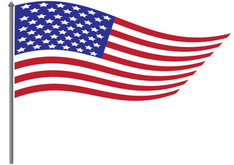 National flag of USA with vector illustration design - Wave USA flag