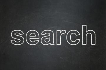 Web development concept: Search on chalkboard background
