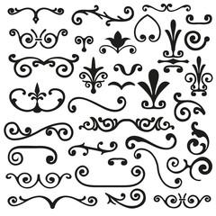 Set of flourishes calligraphic elegant ornament dividers vector illustration