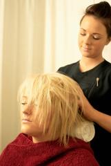 Lady having head massage