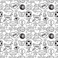 Old school seamless pattern in rockabilly style.