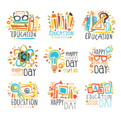 Education labels original design, set of logo graphic templates