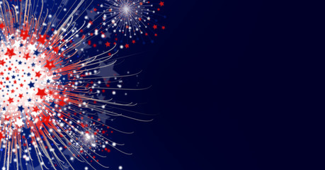 Firework background design of america flag with copy space for USA 4 july independence day