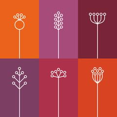 Set of 6 Flowers, flat, lines