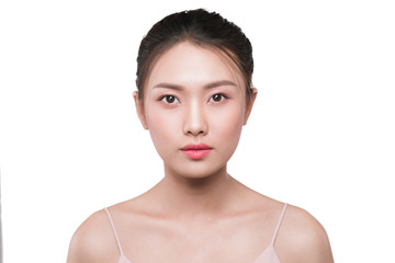 Beauty asian woman face portrait with perfect fresh clean skin.