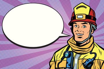 Portrait of a smiling fireman, comic book bubble