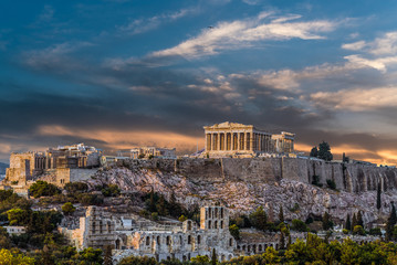 Printed kitchen splashbacks Athens Parthenon, Acropolis of Athens, before Sunset
