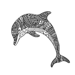 Isolated hand drawn black outline monochrome abstract ornate jump dolphin on white background. Ornament of curve lines. Page of coloring book.