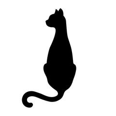 Black isolated silhouette of back sitting cat with turned head on white background.