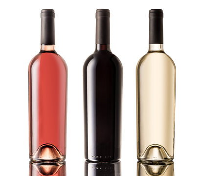 Set of white, rose, and red wine bottles. isolated on white background. Clipping path included.