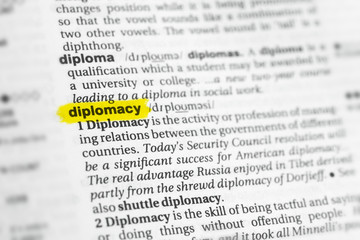 "Highlighted English word ""diplomacy"" and its definition at the dictionary"