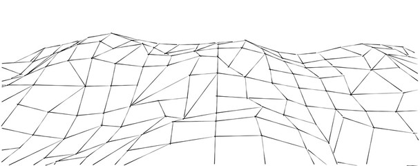 3D illustration of a three dimensional wire-frame landscape on a white background. Technology conception.