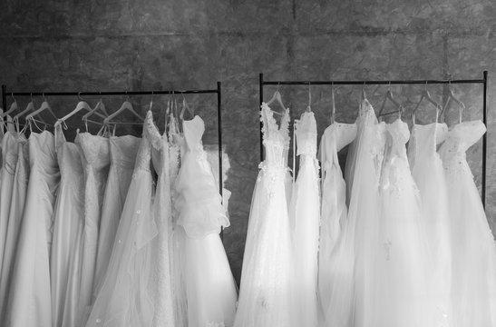 beautiful wedding dresses on a hanger