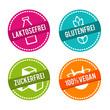 Vektor Symbole Vegan, Glutenfrei, Laktosefrei und Zuckerfrei.