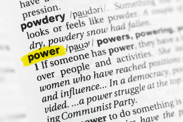 "Highlighted English word ""power"" and its definition at the dictionary"