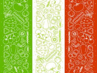 Pizza ingredients borders on Italian flag background