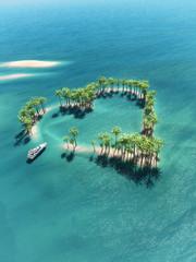 Obraz Heart-shaped tropical island - fototapety do salonu