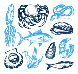 Delicious Seafood - vector vintage illustration