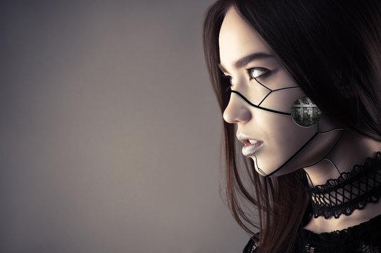 luxurious cyberpunk girl with fashion makeup