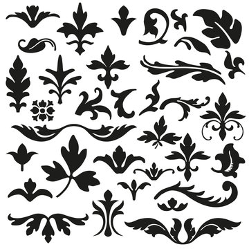 Set of flourishes calligraphic elegant ornament vector illustration