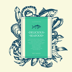 Delicious Seafood - modern drawn square postcard template.
