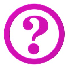 question mark 3d interrogation point asking sign pink button with ring query icon isolated on white background for business presentation