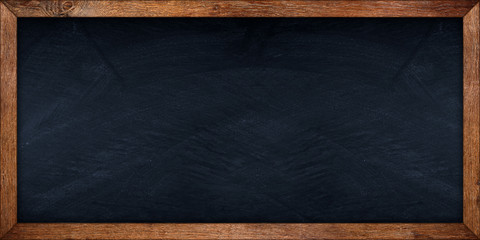 wide blackboard with wooden old rustic oak frame slate background / Schiefertafel tafel mit Holzrahmen aus eiche alt