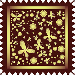 Golden butterflies and suns. Design for print on fabric. Abstract flowers, suns and butterflies.