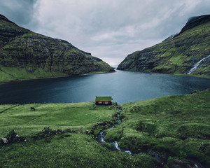 Lonely house overlooking a Fjord