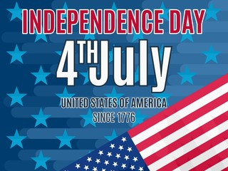 4th July Independence Day poster vector flat